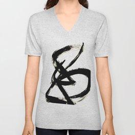 Brushstroke 3 - a simple black and white ink design Unisex V-Neck