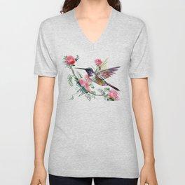 Flying Hummingbird and Red Flowers Unisex V-Neck