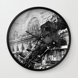 Train wreck at Montparnasse Station (1895) Wall Clock