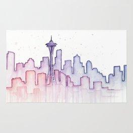 Seattle Skyline Watercolor Rug