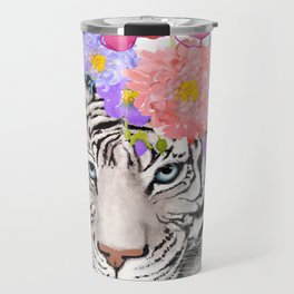 White Tiger with Flowers Travel Mug