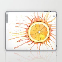 Splash Orange Slice Watercolor Painting Laptop & iPad Skin
