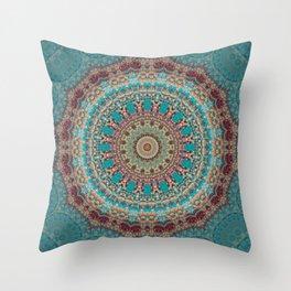 Vintage Turquoise Mandala Design Throw Pillow