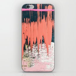 Dollface: a minimal, abstract piece in pink, blue, and gold iPhone Skin