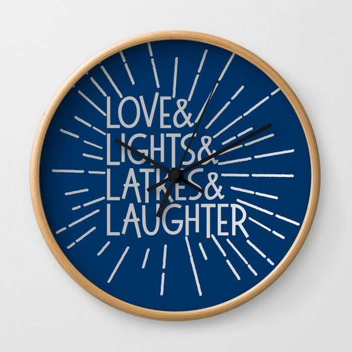 LOVE & LIGHTS & LATKES & LAUGHTER Hanukkah ampersand design blue silver Wall Clock