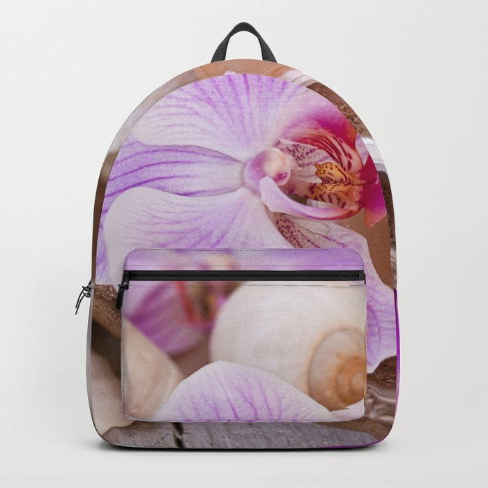 Pink Orchid and Sea Shell Maritime Still Life Backpack