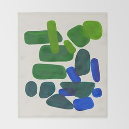 Minimalist Modern Mid Century Colorful Abstract Shapes Phthalo Blue Lime Green Gradient Overlapping Throw Blanket