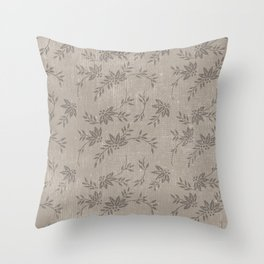 Abstract vintage chic brown cream floral illustration Throw Pillow