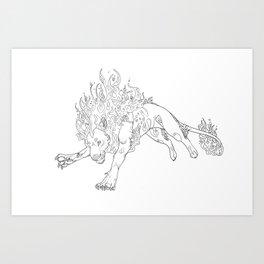Fire Lion Art Print