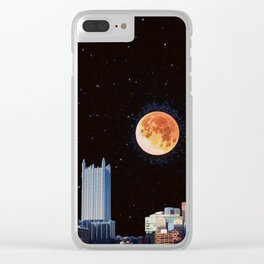 Blood Moon Over Pittsburgh Pennsylvania Skyline Clear iPhone Case