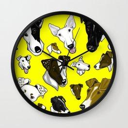 Smooth Fox Terrier -Yellow Wall Clock