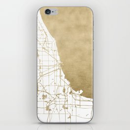 Chicago Gold and White Map iPhone Skin