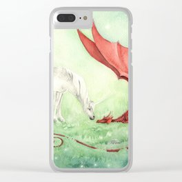 Unicorn and Dragon Clear iPhone Case