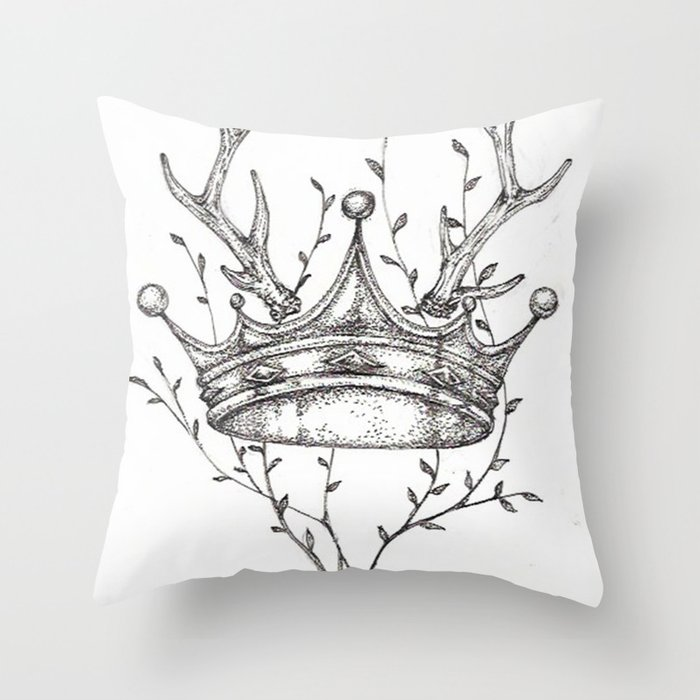 Crown and Stag Throw Pillow