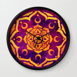 """""""Witchcraft""""  WATERCOLOR MANDALA (HAND PAINTED) BY ILSE QUEZADA Wall Clock"""