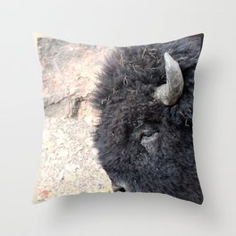 Bison Drive By Throw Pillow