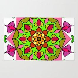 Single Mandala with Abstract Foliage Rug