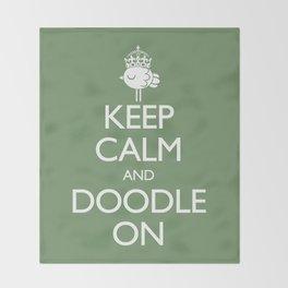 Keep Calm & Doodle On (Green) Throw Blanket
