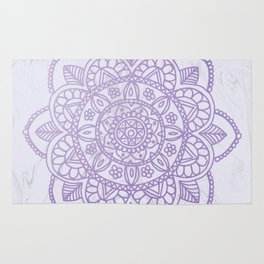 Lavender Mandala on White Marble Rug