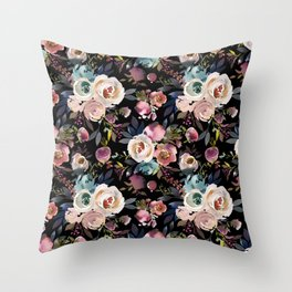 Blush pink teal lilac ivory watercolor modern roses Throw Pillow