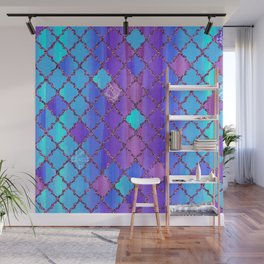 Moroccan Tile Pattern In Purple And Aqua Blue Wall Mural