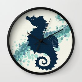 """""""Seahorse Silhouette"""" ` digital illustration by Amber Marine, (Copyright 2015) Wall Clock"""