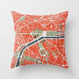 Paris city map classic Throw Pillow