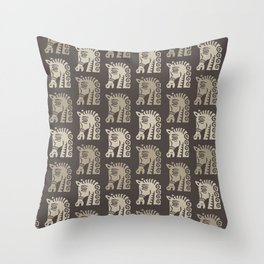 Mid Century Horse Pattern Neutral Throw Pillow