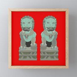 Lion Statues Framed Mini Art Print
