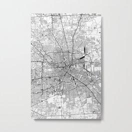 Houston White Map Metal Print