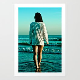 Woman from behind Art Print