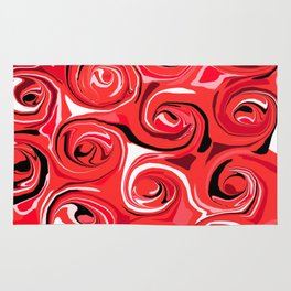 Red Apple Abstract Swirls Pattern Rug