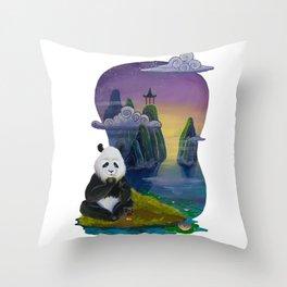 Panda and Tea Throw Pillow