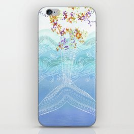 Flying whale iPhone Skin