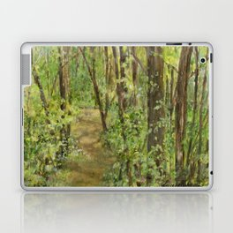 Wooded Path Watercolor Landscape Detailed Realism Laptop & iPad Skin