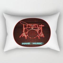 Red Neon Drum Set TEXT: Make Music in Aqua Rectangular Pillow