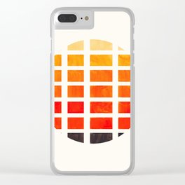 Watercolor Colorful Orange Minimalist Mid Century Modern Square Matrix Geometric Pattern Round Circl Clear iPhone Case