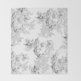 PEACOCK LILY TREE AND LEAF TOILE GRAY AND WHITE PATTERN Throw Blanket