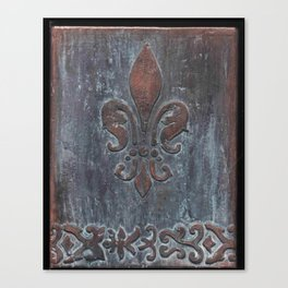 Fleur De Lis Patina Plaque - Original Art by Tracy Sayers Trombetta Canvas Print