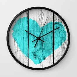 Teal Rustic Heart on Country Wood Wall Clock