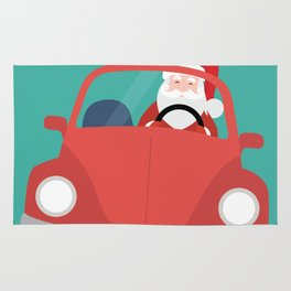 Santa Claus coming to you on his Car Sleigh Rug