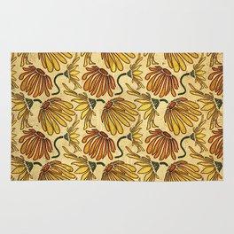 Retro 70's Golden Yellow Daisy Pattern  Rug