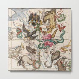 Vintage Constellation Map - Star Atlas - Sagittarious - Scorpio Metal Print