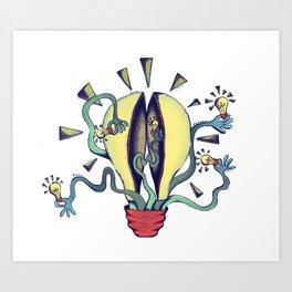 Handsy Lightbulb by Maisie Cross Art Print