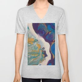Fluid Nature - Dividing Line - Abstract Acrylic Art Unisex V-Neck