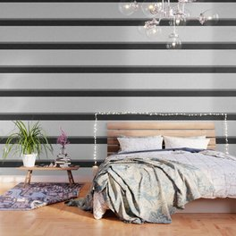 Black and White Graphic Burlap Pattern Stripe Wallpaper