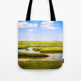 View in Green and Blue from Bass Hole Boardwalk at Grays Beach Yarmouth Port MA Cape Cod Summer Tote Bag