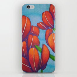Botanical Painting with Reds and Blues iPhone Skin