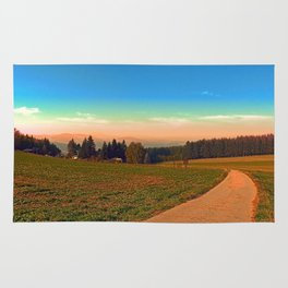 Hiking into the sunset | landscape photography Rug