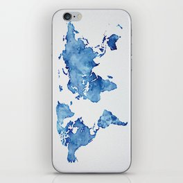 Blue World Map 03 iPhone Skin